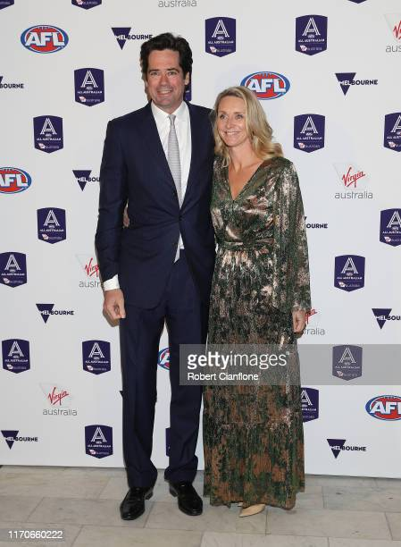 Gillon McLachlan Chief Executive Officer of the AFL and Laura McLachlan arrive during the 2019 All Auatralian Awards at Palais Theatre on August 28...