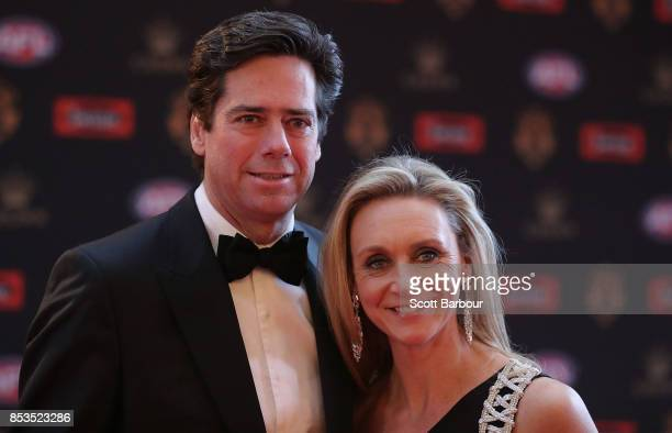 Gillon McLachlan Chief Executive Officer of the AFL and partner Laura McLachlan arrive ahead of the 2017 Brownlow Medal at Crown Entertainment...