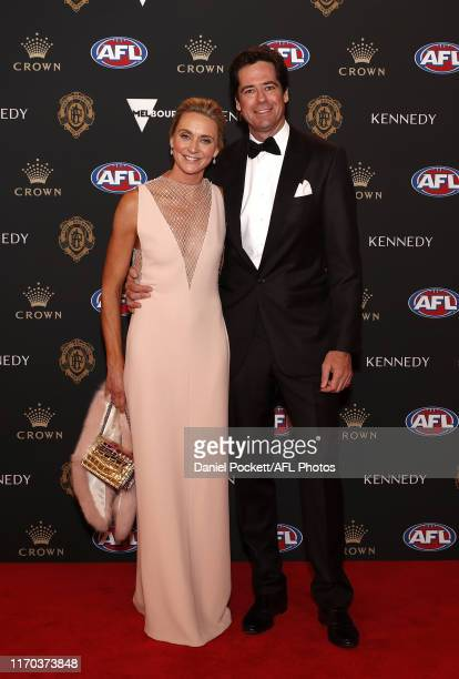 Gillon McLachlan Chief Executive Officer of the AFL and wife Laura arrive during the 2019 Kennedy Brownlow Red Carpet arrivals at Crown Palladium on...
