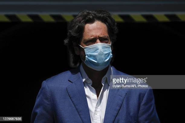 Gillon McLachlan, Chief Executive Officer of the AFL is seen before the Marvel Stadium plans unveiling press conference at Marvel Stadium on November...
