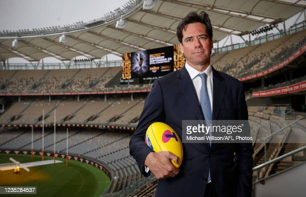 Gillon McLachlan, Chief Executive Officer of the AFL, poses for a photograph during an AFL Press Conference at Optus Stadium on September 16, 2021 in...