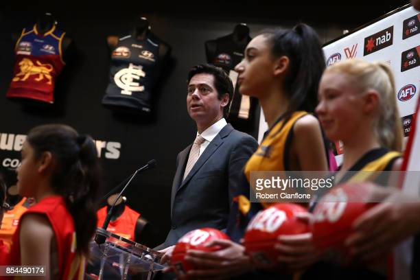 Gillon McLachlan Chief Executive Officer of the AFL speaks to the media during a press conference to announce the teams granted licenses as part of...