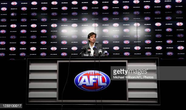 Gillon McLachlan, Chief Executive Officer of the AFL speaks with media during a press conference detailing the AFLs response to the latest Covid-19...