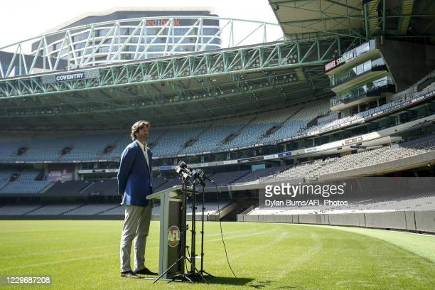 Gillon McLachlan, Chief Executive Officer of the AFL speaks with the media during the Marvel Stadium plans unveiling press conference at Marvel...