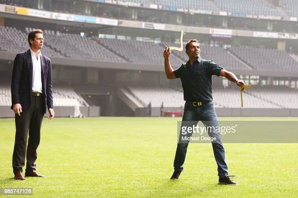 Gillon Mclachlan former player Scott Chisolm throw a Boomerang during an Indigenous Past Player Group announcement at Etihad Stadium on June 28 2018...