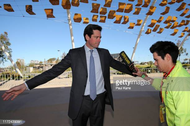 Gillon McLachlan is security screened before accessing the stadium during the AFL 1st Elimination Final match between the West Coast Eagles and the...