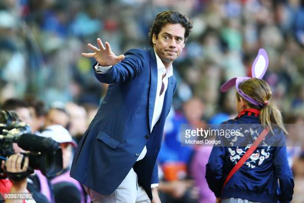 Gillon McLachlan is seen during the round two AFL match between the North Melbourne Kangaroos and the St Kilda Saints at Etihad Stadium on March 30...