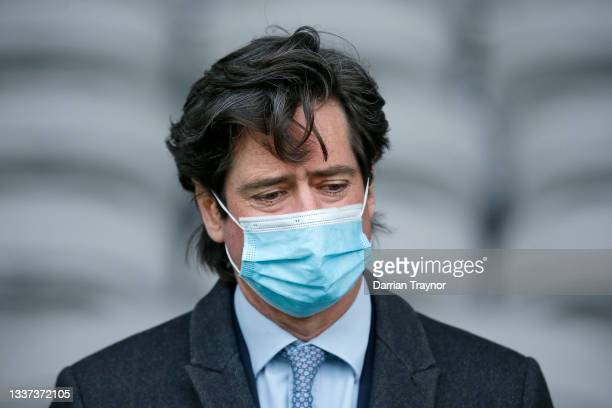 Gillon McLachlan looks on during an AFL press conference at Marvel Stadium on August 31, 2021 in Melbourne, Australia.