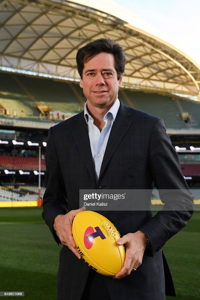 Gillon McLachlan poses for a photo prior to the AFL First Qualifying Final match between the Adelaide Crows and the Greater Western Sydney Giants at Adelaide Oval on September 7, 2017 in Adelaide, Australia.