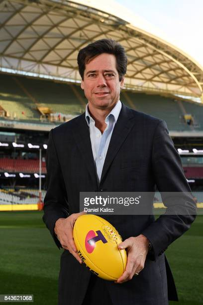 Gillon McLachlan poses for a photo prior to the AFL First Qualifying Final match between the Adelaide Crows and the Greater Western Sydney Giants at...