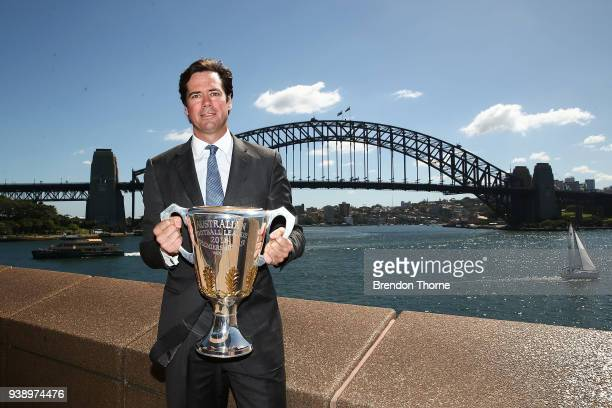 CEO Gillon McLachlan poses with the 2018 AFL Premiership Cup during the NSW Celebration of the 2018 Toyota AFL Premiership Season at The Sydney Opera...