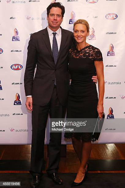 Gillon McLachlan poses with wife Laura McLachlan arrives ahead of the All Australian Team Announcement at Royal Exhibition Building on September 16...
