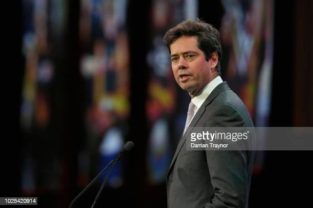 Gillon Mclachlan speaks during the 2018 AFL Rising Star Award at MAIA on August 31 2018 in Melbourne Australia