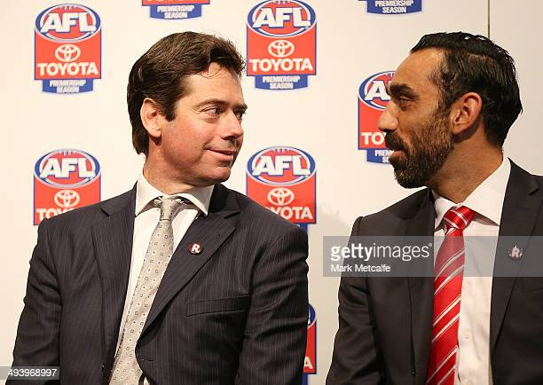 Gillon McLachlan speaks to Adam Goodes of the Swans during the AFL Indigenous Round Launch in Sydney at Hyde Park on May 27, 2014 in Sydney,...