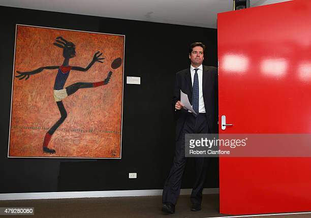 Gillon McLachlan speaks to media during a press conference at AFL House on July 3, 2015 in Melbourne, Australia. Gillon McLachlan announced that the...