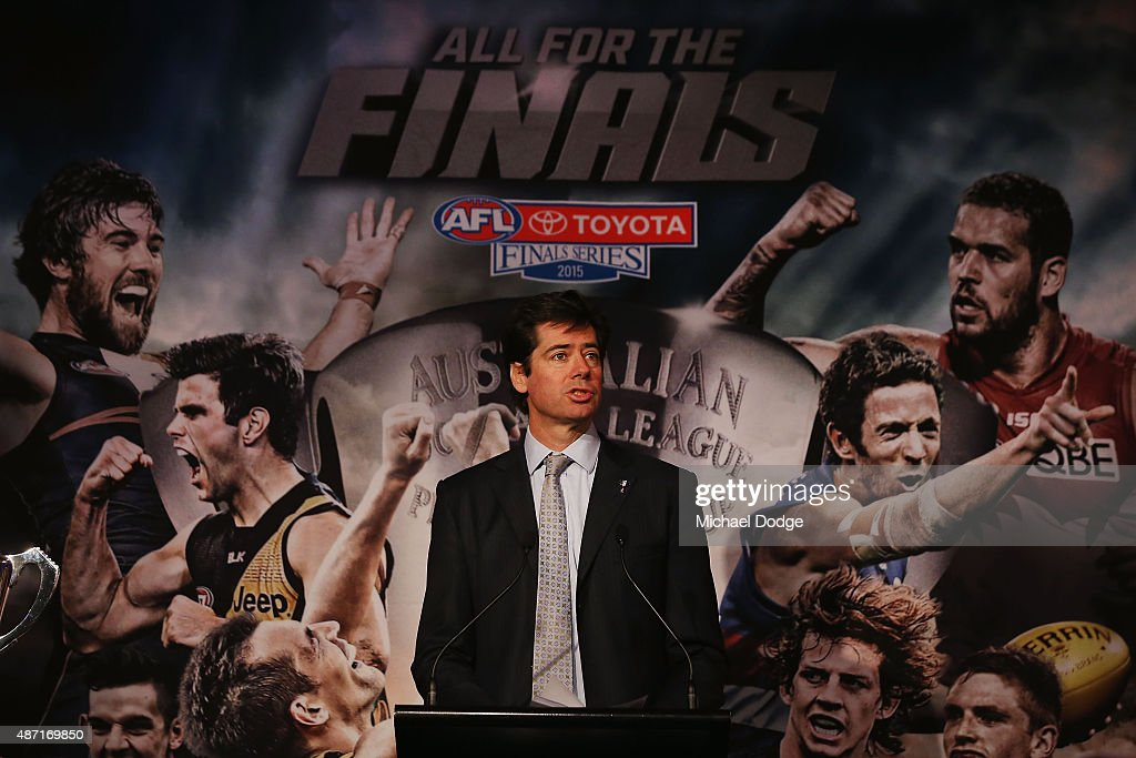 Gillon McLachlan speaks to media during the 2015 AFL Finals Series launch at Federation Square on September 7, 2015 in Melbourne, Australia.