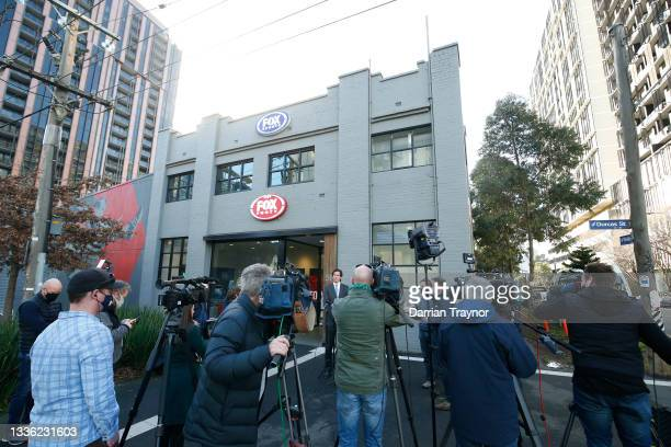 Gillon McLachlan speaks to the media at Fox Sports Studio on August 25, 2021 in Melbourne, Australia.