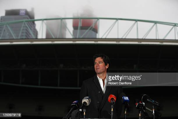 Gillon McLachlan speaks to the media during an AFL press conference at Marvel Stadium on July 03, 2020 in Melbourne, Australia. The AFL have revised...