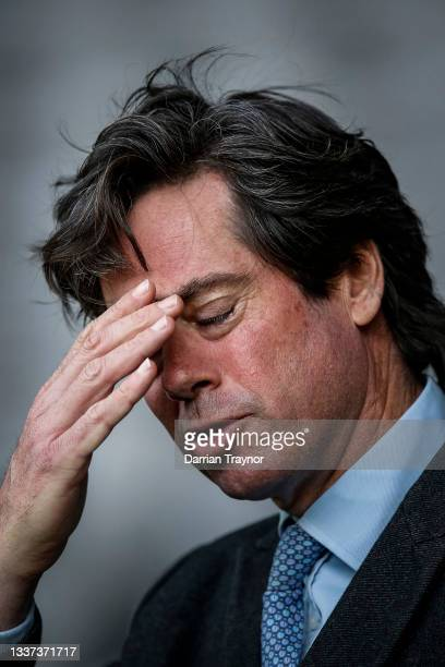 Gillon McLachlan speaks to the media during an AFL press conference at Marvel Stadium on August 31, 2021 in Melbourne, Australia.