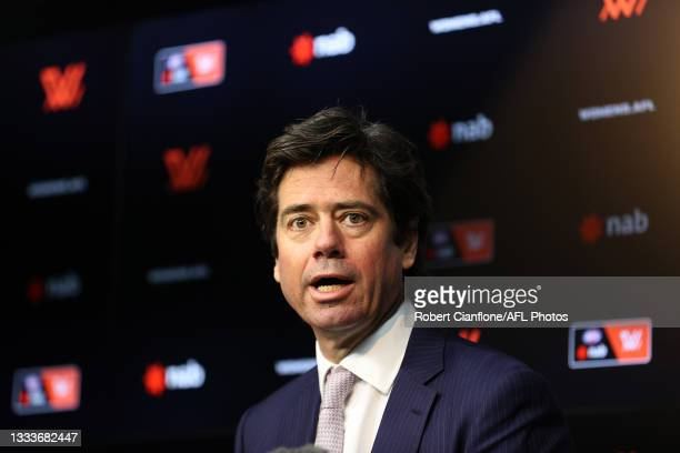 Gillon McLachlan speaks to the media during an AFLW media opportunity at Marvel Stadium on August 12, 2021 in Melbourne, Australia.