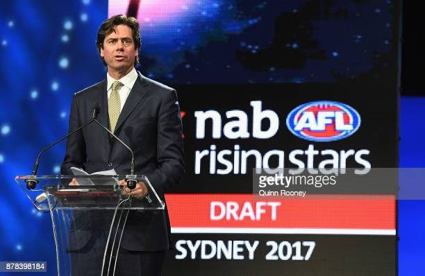 Gillon McLachlan the Chief Executive Officer of the AFL speaks during the 2017 AFL Draft at Sydney Showgrounds on November 24 2017 in Sydney Australia