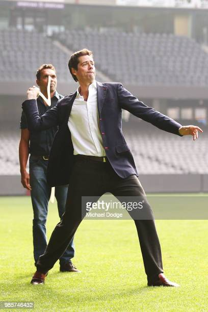 Gillon Mclachlan throws a Boomerang provided by former player Scott Chisolm during an Indigenous Past Player Group announcement at Etihad Stadium on...
