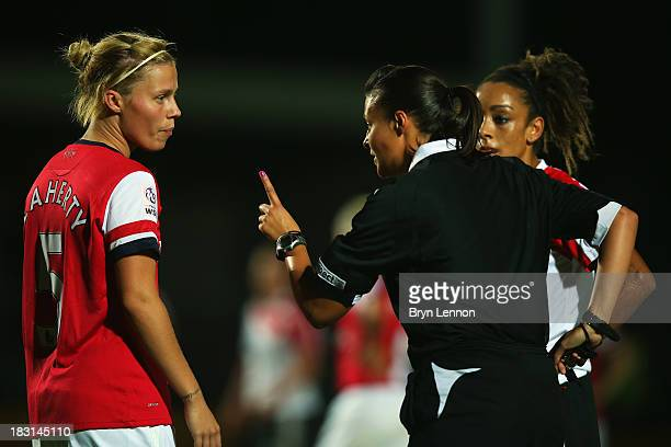 Gilly Flaherty of Arsenal Ladies argues with referee Lisa Rashid during the FA WSL Continental Cup Final between Arsenal Ladies and Lincoln Ladies at...