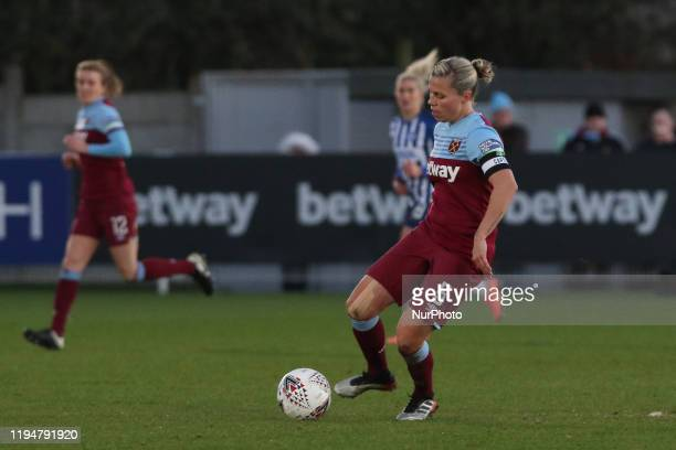 Gilly Flaherty of West Ham United Women in action during the Barclays FA Women's Super League match between West Ham United and Brighton and Hove...