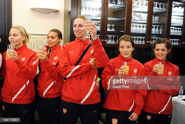 Gilly Flaherty Rebecca Spencer Faye White Angharad James and Bianca Bragg of Arsenal Ladies FC during an official welcome dinner during their tour to...