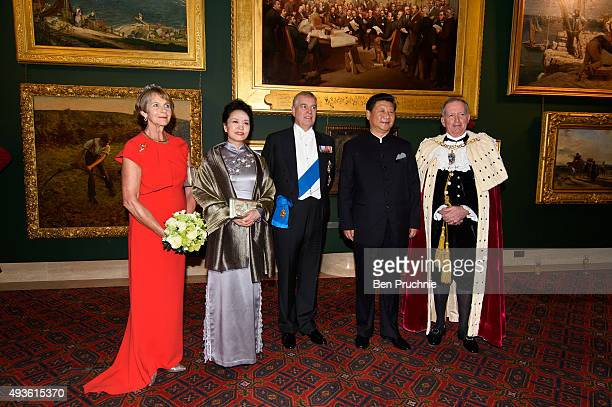 Gilly Yarrow Peng Liyuan Prince Andrew Duke of York President of the People's Republic of China Xi Jinping and Alan Yarrow pose for photographers...