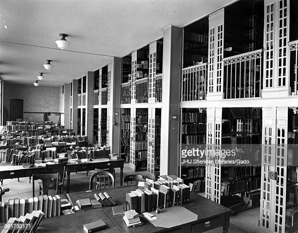 Gilman Hall, Hutzler Reading Room interior, Stacks and reading area in Library, Johns Hopkins University Homewood Campus, Baltimore, Maryland, 1920.
