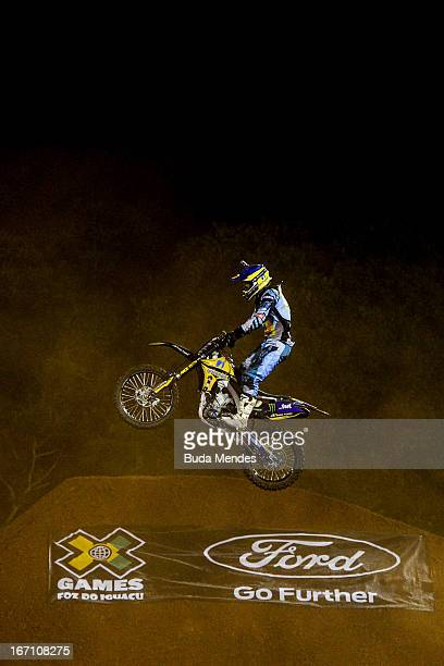 Gilmar Flores in action during Moto X Freestyle Up at the X Games on April 19 2013 in Foz do Iguacu Brazil
