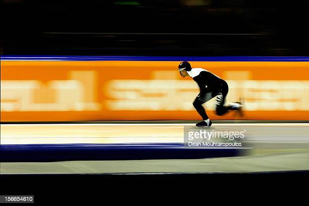 Gilmore Junio of Canada competes in the Division A 500m race on the final day of the Essent ISU World Cup Speed Skating at Thialf Ice Stadium on...