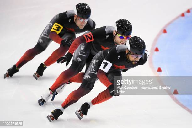 Gilmore Junio of Canada leads in the men's team sprint during the ISU World Single Distances Speed Skating Championships on February 13 2020 in Salt...