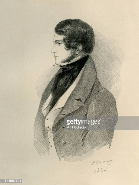 """Gilmour, 1834. Portrait of William Little Gilmour. From """"Portraits by Count D'Orsay"""", an album assembled by Lady Georgiana Codrington. [1850s]...."""