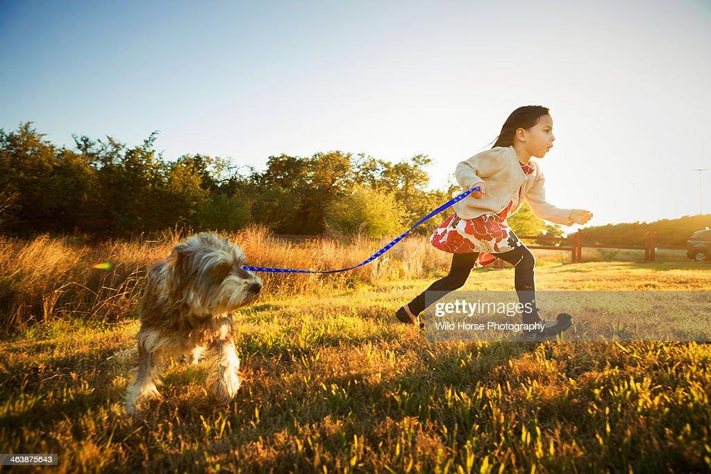 Gilr Walking Dog : Stock Photo