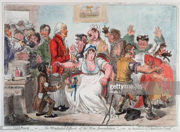 Gilray cartoon on vaccination against Smallpox using Cowpox serum 1802 In 1796 the English physician Edward Jenner proved efficacy of practice but...