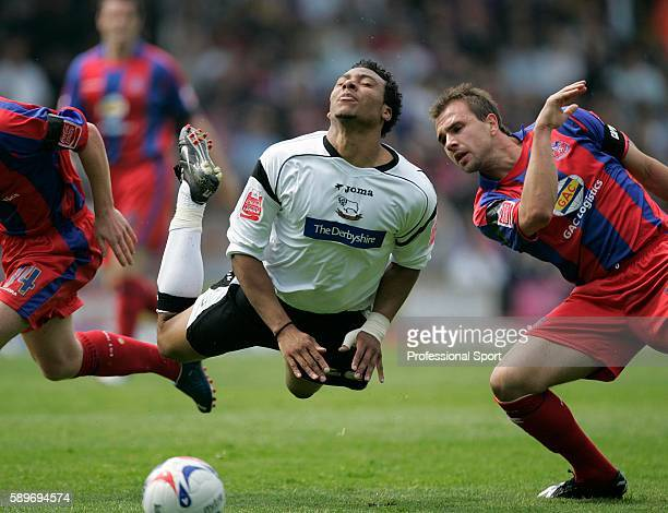 Gils Barnes of Derby County goes airborne after a tackle from Carl Fletcher of Crystal Palace during the Coca Cola Championship match between Crystal...