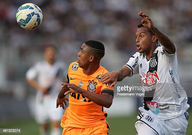 Gilson of Ponte Preta fights for the ball with Malcom of Corinthians during the match between Ponte Preta and Corinthians for the Brazilian Series A...