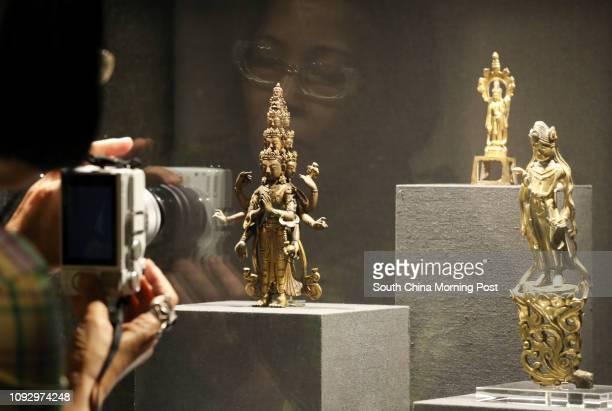 Gilt Bronze Sculpture of a Avalokitasvara Gilt Bronze Sculpture of a Bodhisattva and Gilt Bronze Sculpture of a Bodhisattva shown at the first day of...