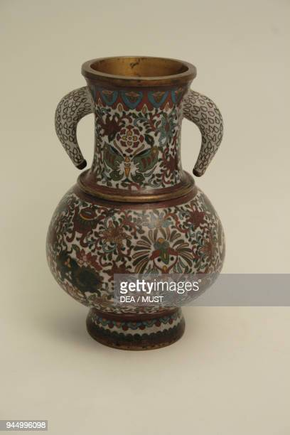 Gilt copper vase decorated with cloisonne enamels 18751890 height 24 cm Japan 19th century
