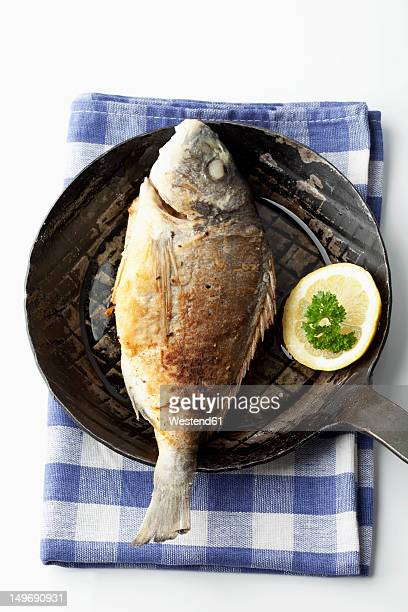 Gilthead bream in frying pan with napkin on white background