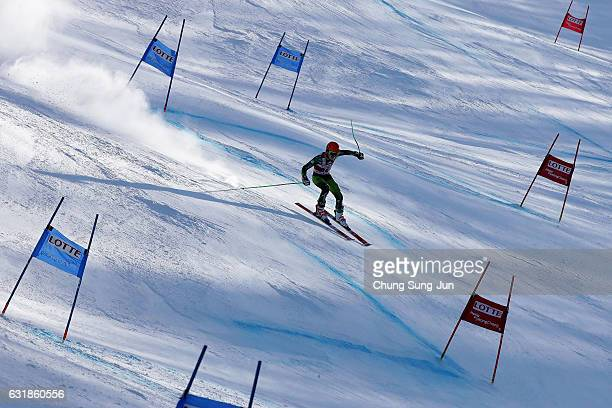 Gim KunHui of South Korea competes in the Men's Giant Slalom during the Alpine FEC And President Cup 2017 test event for Pyeongchang 2018 Olympic...