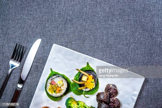 gimbap, sundae , korea's most popular food - jong heung lee stock pictures, royalty-free photos & images
