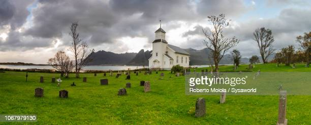 gimsoy church, lofoten islands, norway - tombstone stock pictures, royalty-free photos & images