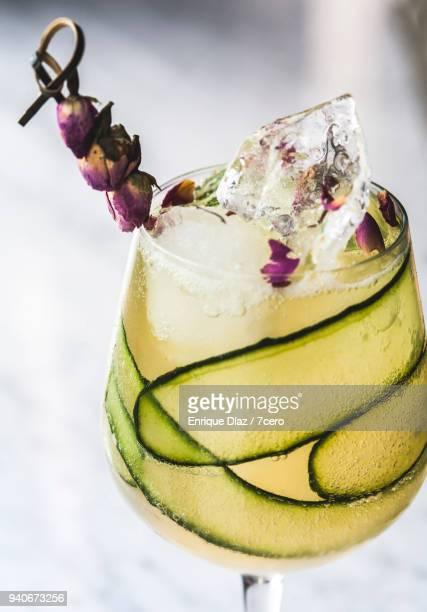 Gin and Kombucha Cocktail with Cucumber and Rose Garnish
