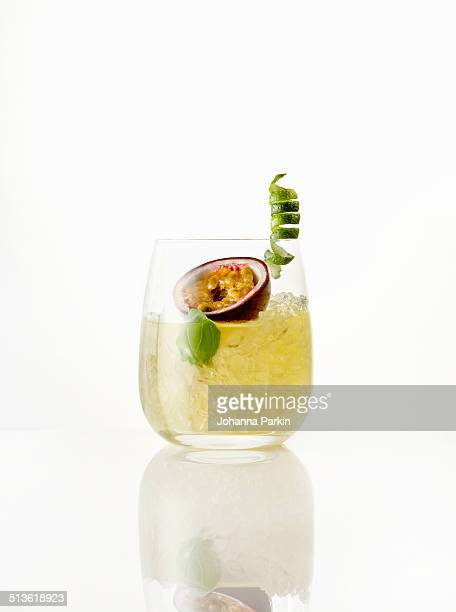 Gin, ginger, passionfruit and lime cocktail