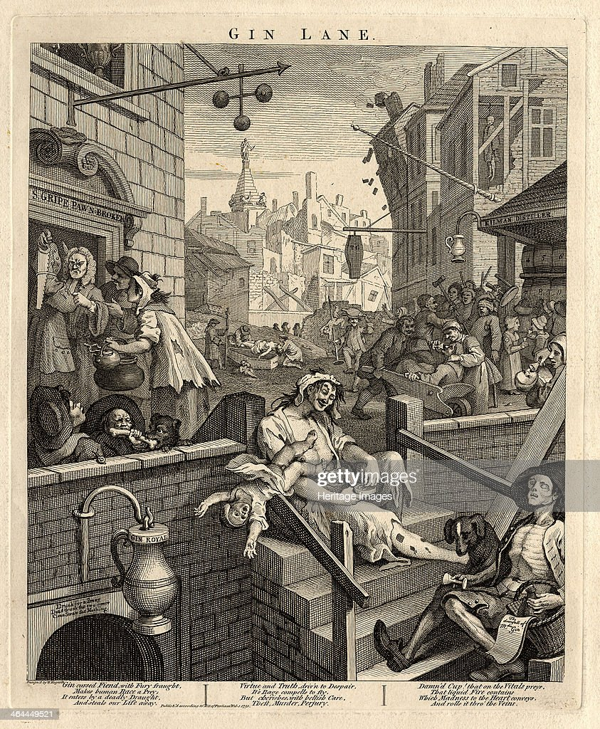 Gin Lane (Beer Street and Gin Lane 2), 1751. From a private collection.