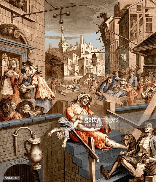 Gin Lane caricature by William Hogarth circa 1750 WH English painter and artist 10 November 1697 October 1764