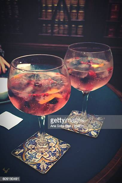 Gin Tonic In Glasses On Table At Restaurant